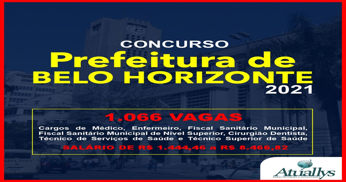 PREFEITURA DE BELO HORIZONTE PUBLICA EDITAL COM  1066 VAGAS